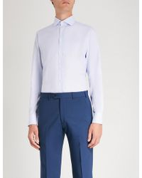 Smyth & Gibson - Micro Geometric-pattern Tailored-fit Cotton Shirt - Lyst