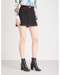 Versus - Contrast-stitched Stretch-denim Skirt - Lyst