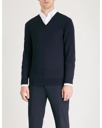 Ralph Lauren Purple Label - V-neck Wool And Cashmere-blend Jumper - Lyst