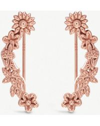 Olivia Burton - Bee Bloom 18ct Rose Gold-plated Floral And Bee Crawler Earrings - Lyst