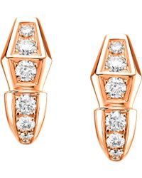BVLGARI - Serpenti 18kt Rose-gold And Diamond Earrings - Lyst