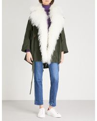 Mo&co. - Padded Woven And Down-blend Shearling Coat - Lyst
