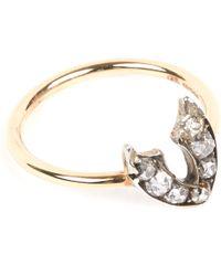 Annina Vogel - 9 Carat Gold And Diamond Wishbone Ring - Lyst