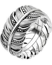 Thomas Sabo - Rebel At Heart Feather Sterling Silver Ring - Lyst