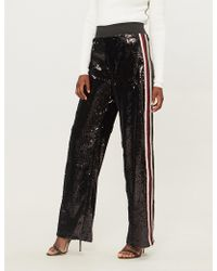 SERENA BUTE LONDON - Mid-rise Wide-leg Sequinned jogging Bottoms - Lyst