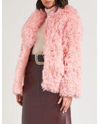 Miu Miu - Oversized-collar Shearling Coat - Lyst