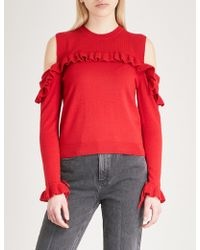 The Kooples - Ruffled Cold-shoulder Wool Jumper - Lyst