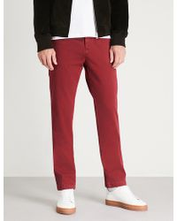 7 For All Mankind - Slimmy Regular Slim-fit Straight Cotton-blend Chinos - Lyst