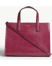 Kurt Geiger - Fuchsia Pink Crocodile Embossed Leather Tote Bag - Lyst
