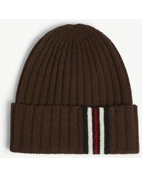 efe02c25 Gucci Game Guccy Rib-knit Wool Beanie Hat in Black - Lyst