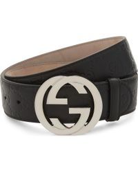 71696a335 Gucci Double G Buckle Belt in Black - Lyst