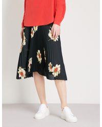 Vince - Gardenia Floral-print Pleated Crepe Skirt - Lyst