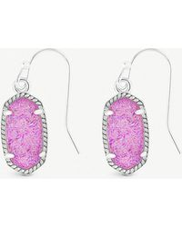 Kendra Scott - Lee 14ct Rhodium-plated And Violet Drusy Stone Earrings - Lyst