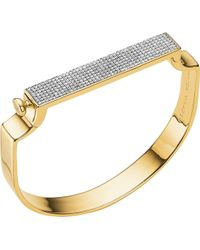 Monica Vinader - Signature 18ct Yellow-gold Vermeil And Diamond Bangle - Lyst
