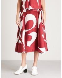 Victoria Beckham - Abstract-print Draped Silk-twill Skirt - Lyst