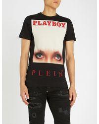 Philipp Plein - Playboy Logo-print Cotton-jersey T-shirt - Lyst