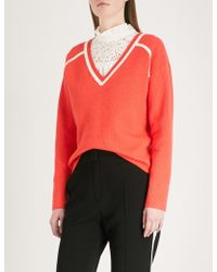 Claudie Pierlot - Striped-detail V-neck Knitted Jumper - Lyst