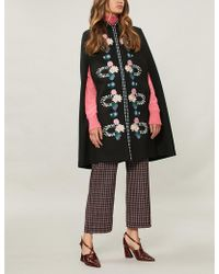 Vilshenko - Alexis Embroidered Wool-twill Cape - Lyst