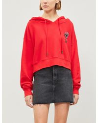 The Kooples - Embellished Cropped Cotton-jersey Hoody - Lyst