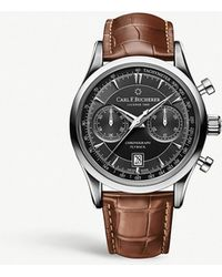 Carl F. Bucherer - 00.10919.08.33.01 Manero Flyback Stainless Steel And Leather Strap Watch - Lyst