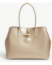 Longchamp - Roseau Metallic Leather Shoulder Tote Bag - Lyst