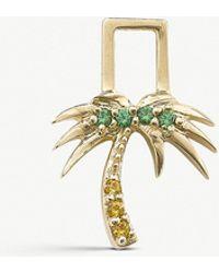 The Alkemistry - Robinson Pelham 14ct Yellow Gold And Sapphire And Tsavorite Palm Tree Earwish - Lyst