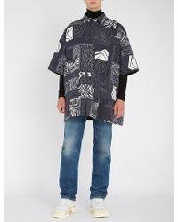 Balenciaga - Mens Blue Abstract-print Oversized Padded Shirt - Lyst