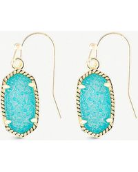 Kendra Scott - Lee 14ct Gold-plated And Teal Drusy Stone Earrings - Lyst