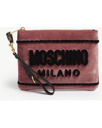 Moschino - Logo Velvet Pouch - Lyst