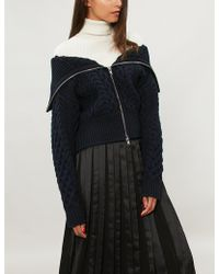 Self-Portrait - Cable-knit Cropped Cotton And Wool-blend Cardigan - Lyst