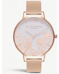 Olivia Burton - Ob16mv79 Lace Detail Rose Gold-plated Watch - Lyst