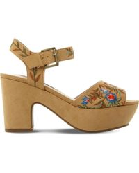 Steve Madden - Bonnie Embroidered Platform Sandals - Lyst