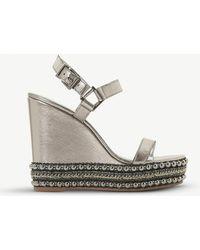 Dune - Kibble Studded Metallic-leather Wedge Sandals - Lyst