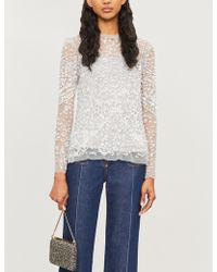 Needle & Thread Aurora Floral-embroidery Tulle Top