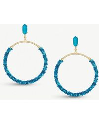 Kendra Scott - Russel 14ct Gold-plated Brass And Teal Agate Hoop Earrings - Lyst