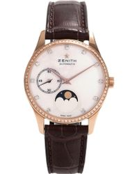 Zenith - 22.2310.692/81.c709 Moonphase Automatic Rose Gold And Leather Strap Watch - Lyst