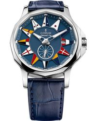 Corum - 395.1012.00/f03ab12admiral Legend 42 Stainless Steel And Leather Automatic Watch - Lyst