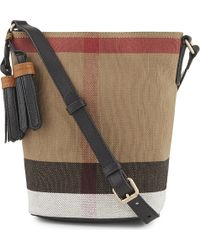 Burberry - Petite Ashby Canvas Bucket Bag - Lyst