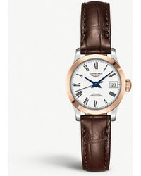 Longines - L2.320.5.11.2 Record Leather And Rose Gold-plated Stainless Steel Watch - Lyst