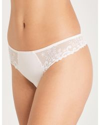 Simone Perele - Delice Jersey And Embroidered Mesh Thong - Lyst