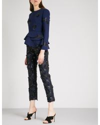 Huishan Zhang - Floral-embellished Straight High-rise Woven Trousers - Lyst