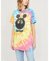 Mini Cream - Logo-print Tie-dyed Cotton-jersey T-shirt - Lyst