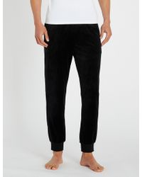 Emporio Armani - Relaxed-fit Velvet Pyjama Bottoms - Lyst