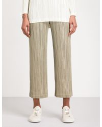 Pleats Please Issey Miyake | Wide Cropped High-rise Pleated Trousers | Lyst