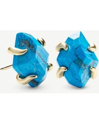Kendra Scott Inaiyah 14ct Gold-plated And Aqua Howlite Earrings
