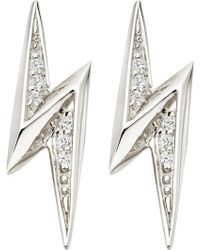 Astley Clarke - Lightning Bolt Sterling Silver And White Sapphire Stud Earrings - Lyst