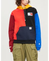 Aape - Logo-embroidered Panelled Cotton-blend Hoody - Lyst