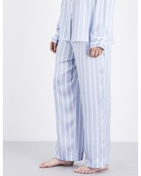 Beautiful Bottoms - Sky Stripe Silk-satin Pyjama Bottoms - Lyst