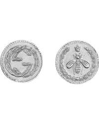 Gucci   Coin Rhodium Silver Earrings   Lyst