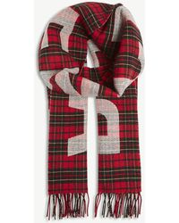 Balenciaga - Mens Red And Black Tartan Check Logo Wool Scarf - Lyst